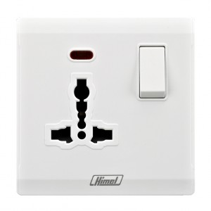13A 1 Gang International Switched Socket with Neon