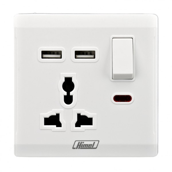 13A 1 Gang International Switched Socket with 2 USB