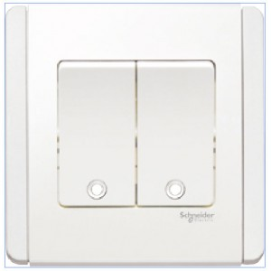 10AX 250V 2 Gang 1 Way Switch Vertical