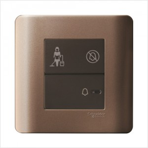 1 Gang Full-Flat Bell Switch with Illuminated 'DND' & 'PCU' Symbols