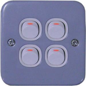 10A 250V 4 Gang 1 Way Switch