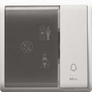 1 Gang Bell Switch with Illuminated 'Privacy', 'Please Clean Up' & 'Please Wait' Symbols