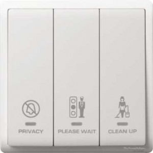 3 Gang Switch with Neon with 'Privacy', 'Please Clean Up' & 'Please Wait' Symbols